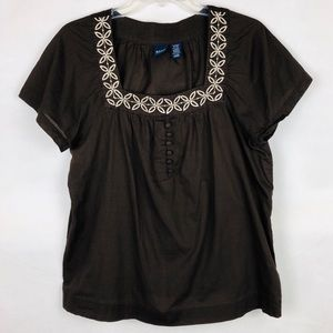 Basic Editions Embroidered Square Neck Top